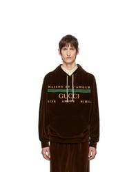 Sudadera con capucha bordada en marrón oscuro de Gucci