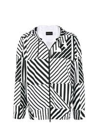 Sudadera con capucha con estampado geométrico en negro y blanco de Emporio Armani