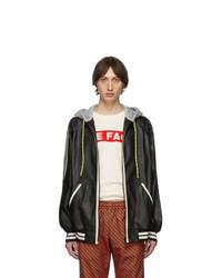 Sudadera con capucha de cuero negra de Gucci