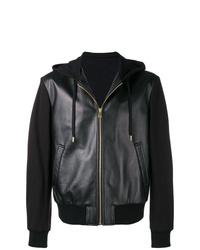 Sudadera con capucha de cuero negra de Versace