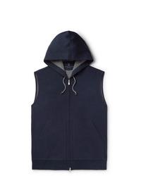 Sudadera con capucha de manga corta azul marino de Brunello Cucinelli