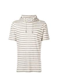 Sudadera con capucha de manga corta de rayas horizontales marrón claro de Eleventy