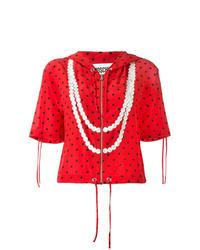 Sudadera con capucha de manga corta estampada roja de Moschino
