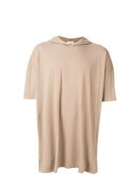 Sudadera con capucha de manga corta marrón claro