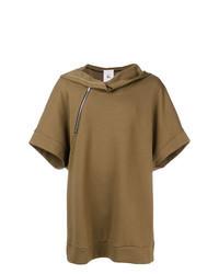 Sudadera con capucha de manga corta marrón
