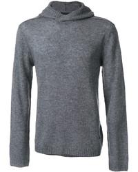 Sudadera con capucha de punto gris de Emporio Armani