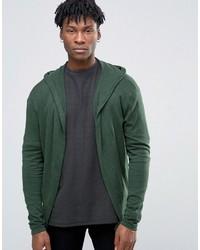 Sudadera con capucha de punto verde oscuro de Asos