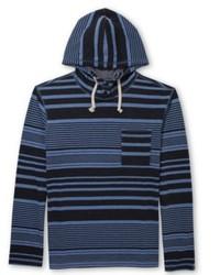 Sudadera con capucha de rayas horizontales azul marino