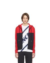 Sudadera con capucha en rojo y negro de Moncler