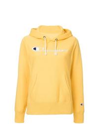 Sudadera con capucha estampada amarilla de Champion