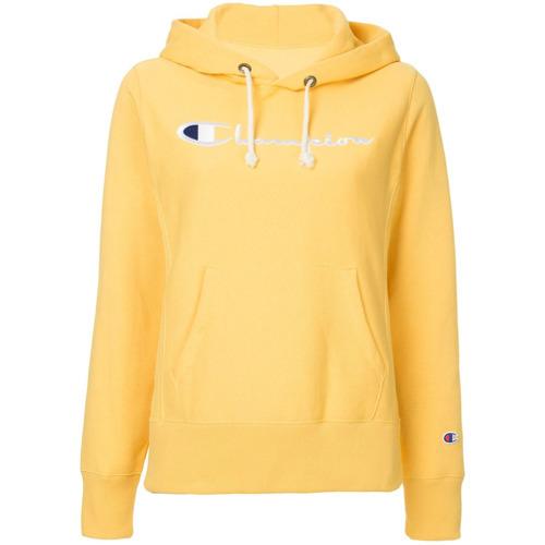 4cbf59530e6 Sudadera con capucha estampada amarilla de Champion