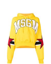 Sudadera con capucha estampada amarilla de MSGM