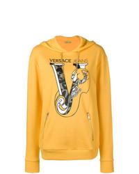 Sudadera con capucha estampada amarilla de Versace Jeans