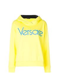 Sudadera con capucha estampada amarilla de Versace