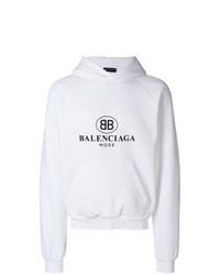 Sudadera con capucha estampada blanca de Balenciaga