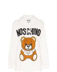 Sudadera con capucha estampada blanca de Moschino