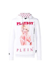 Sudadera con capucha estampada blanca de Philipp Plein