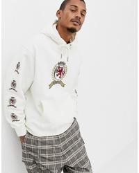 Sudadera con capucha estampada blanca de Tommy Jeans