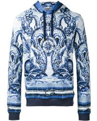 Sudadera con capucha estampada celeste de Dolce & Gabbana