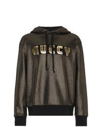Sudadera con capucha estampada dorada de Gucci