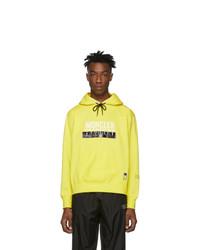 Sudadera con capucha estampada en amarillo verdoso de Moncler Genius