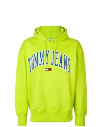 Sudadera con capucha estampada en amarillo verdoso de Tommy Jeans