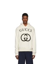 Sudadera con capucha estampada en blanco y negro de Gucci