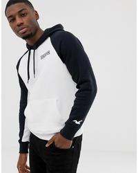 Sudadera con capucha estampada en blanco y negro de Hollister