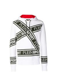 Sudadera con capucha estampada en blanco y negro de Plein Sport