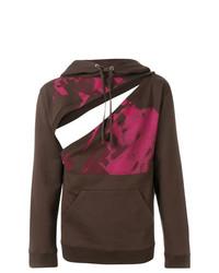 Sudadera con capucha estampada en marrón oscuro de Raf Simons