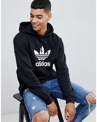 Sudadera con capucha estampada en negro y blanco de adidas Originals