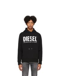 Sudadera con capucha estampada en negro y blanco de Diesel