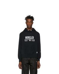 Sudadera con capucha estampada en negro y blanco de Moncler Genius
