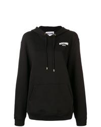 Sudadera con capucha estampada en negro y blanco de Moschino