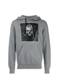 Sudadera con capucha estampada gris de Alexander McQueen