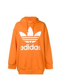 Sudadera con capucha estampada naranja de adidas