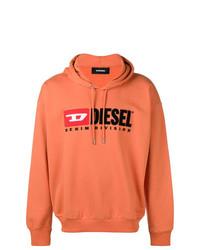Sudadera con capucha estampada naranja de Diesel