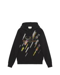 Sudadera con capucha estampada negra de Gucci