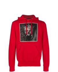 Sudadera con capucha estampada roja de Alexander McQueen