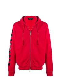 Sudadera con capucha estampada roja de DSQUARED2