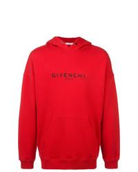 Sudadera con capucha estampada roja de Givenchy