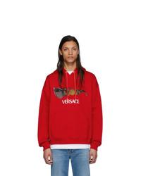 Sudadera con capucha estampada roja de Versace