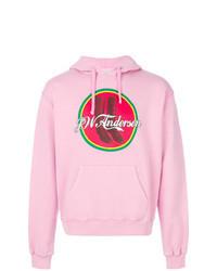 Sudadera con capucha estampada rosada