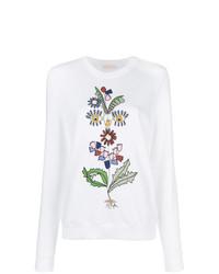 Sudadera con print de flores blanca de Tory Burch