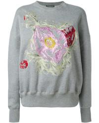 Sudadera con print de flores gris de Alexander McQueen
