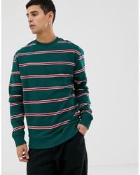 Sudadera de rayas horizontales verde oscuro de New Look