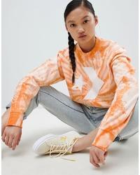 Sudadera efecto teñido anudado naranja de Converse