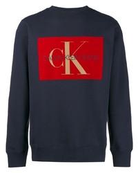 Sudadera estampada azul marino de Calvin Klein Jeans