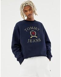 Sudadera estampada azul marino de Tommy Jeans