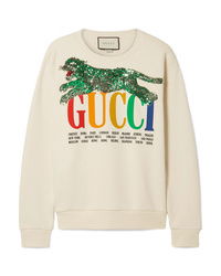 Sudadera estampada en beige de Gucci